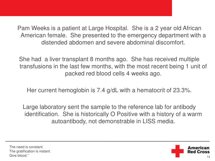 Pam Weeks is a patient at Large Hospital.  She is a 2 year old African American female.  She presented to the emergency department with a distended abdomen and severe abdominal discomfort.