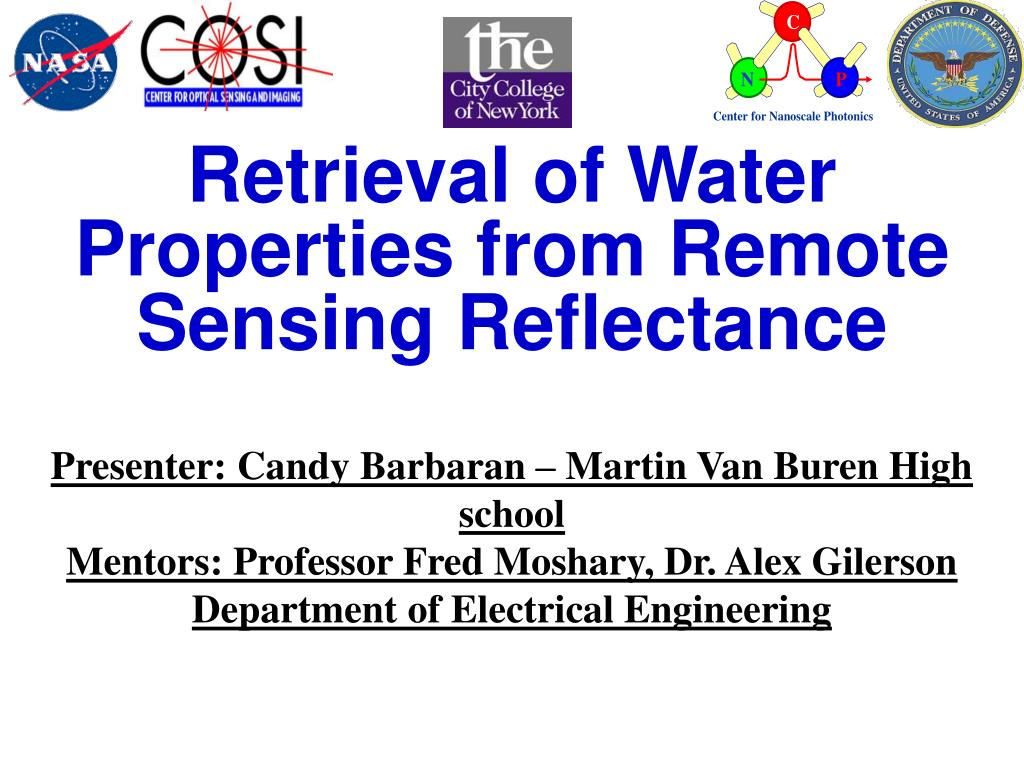 retrieval of water properties from remote sensing reflectance l.