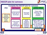 haccp plan for samosas