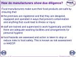 how do manufacturers show due diligence