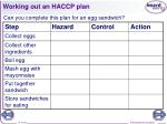 working out an haccp plan