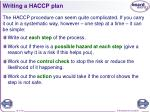 writing a haccp plan