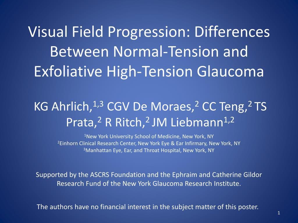 visual field progression differences between normal tension and exfoliative high tension glaucoma l.