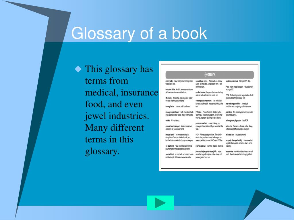 Glossary of a book
