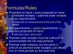 formulas rules