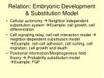 relation embryonic development substitution model