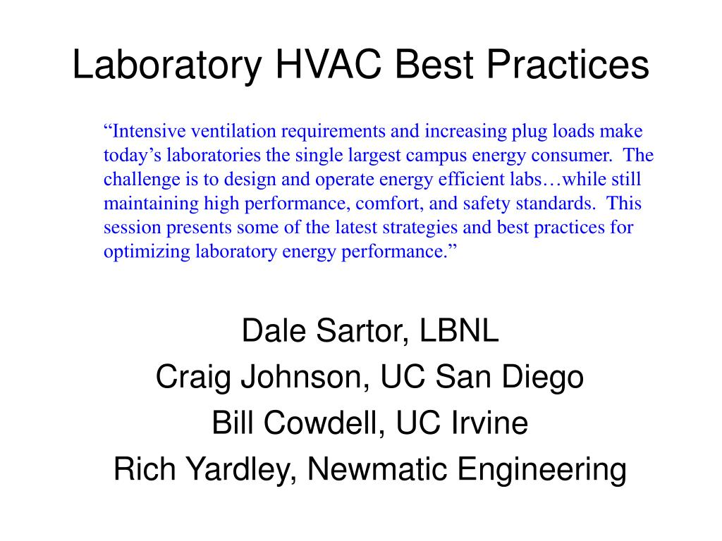 laboratory hvac best practices l.