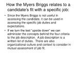 how the myers briggs relates to a candidate s fit with a specific job