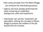 how using concepts from the myers briggs can enhance the interviewing process