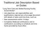 traditional job description based on duties