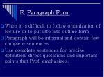 e paragraph form