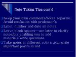 note taking tips cont d