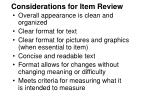 considerations for item review