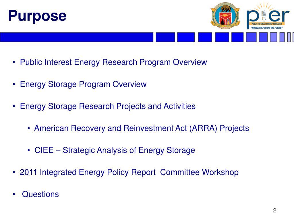 Public Interest Energy Research Program Overview