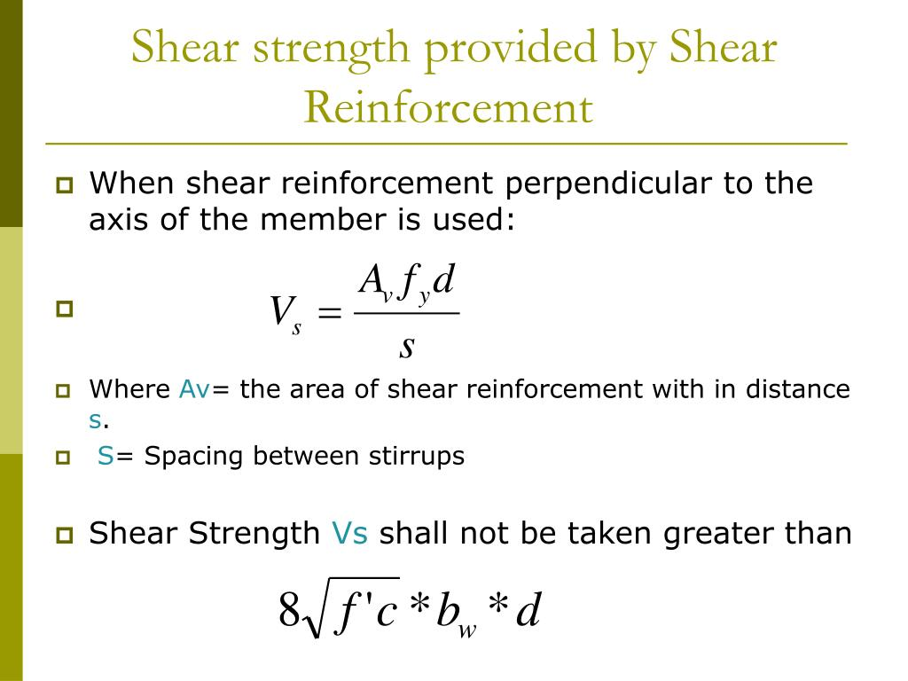 Shear strength provided by Shear Reinforcement