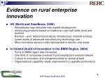 evidence on rural enterprise innovation