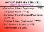 gwylfa therapy service staff in core team
