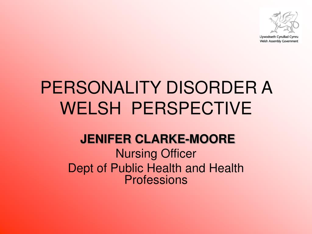 personality disorder a welsh perspective l.