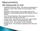 measurements all measured in mm