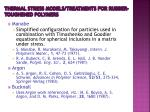 thermal stress models treatments for rubber toughened polymers