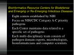 bioinformatics resource centers for biodefense and emerging or re emerging infectious diseases