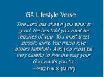 ga lifestyle verse
