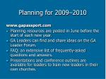 planning for 2009 201039