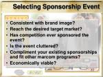 selecting sponsorship event