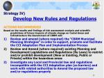 strategy iv develop new rules and regulations