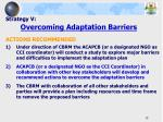 strategy v overcoming adaptation barriers