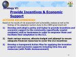 strategy vi provide incentives economic support