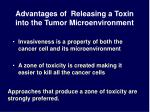advantages of releasing a toxin into the tumor microenvironment