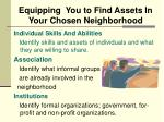 equipping you to find assets in your chosen neighborhood