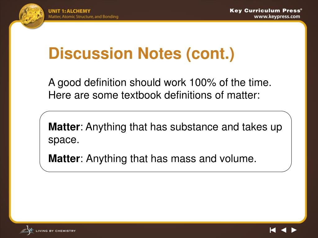 Discussion Notes (cont.)