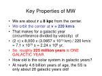 key properties of mw