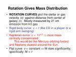 rotation gives mass distribution