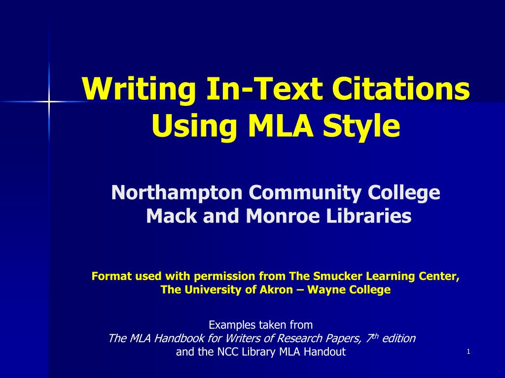 Ppt Examples Taken From The Mla Handbook For Writers Of