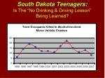 south dakota teenagers is the no drinking driving lesson being learned