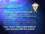 basis for program