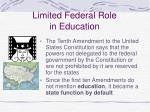 limited federal role in education