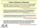 study of nitrogen in diamond