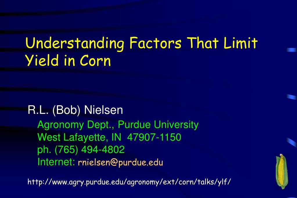 understanding factors that limit yield in corn l.