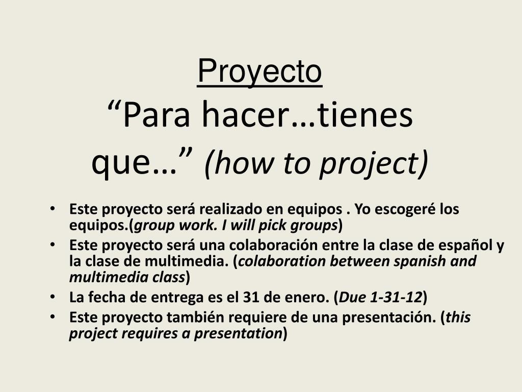 proyecto para hacer tienes que how to project l.