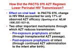 how did the pactg 076 azt regimen lower perinatal hiv transmission