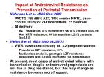 impact of antiretroviral resistance on prevention of perinatal transmission