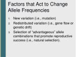 factors that act to change allele frequencies