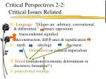 critical perspectives 2 2 critical issues related
