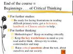 end of the course beginnings of critical thinking