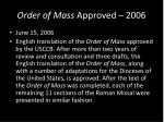 order of mass approved 2006