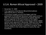 u s a roman missal approved 2009